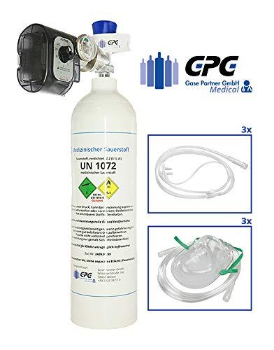 Mobiles Sauerstoff-Notfallsystem - 2 Liter Aluflasche superleicht, mit Druckminderer (Sauerstoffsparsystem
