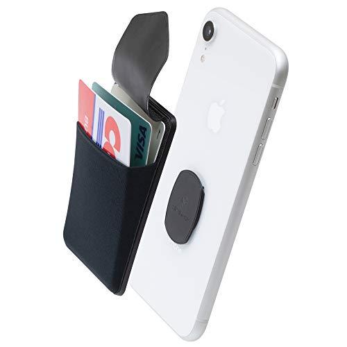 Sinjimoru Portafoglio rimovibile per cellulare, con linguetta, compatibile con ricarica Wireless, Porta Carte di credito e supporto per iPhone. Sinji Mount Flap, Negro