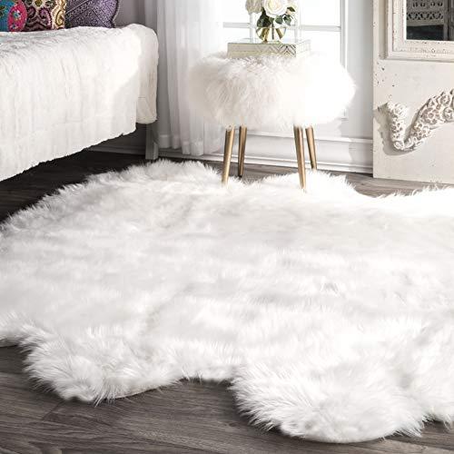 nuLOOM Fluffy Faux Sheepskin Shag Area Rug, 5' 3' x 6', White