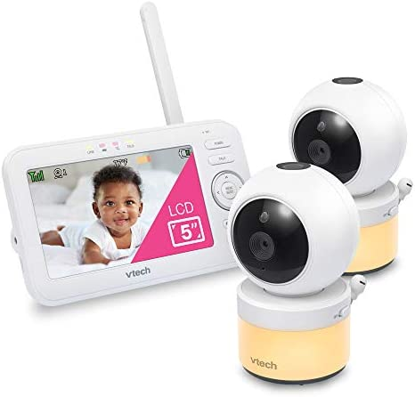VTech VM5463 2 Video Baby Monitor with 5 Screen Pan Tilt Zoom Sound Activated Night Light Glow product image
