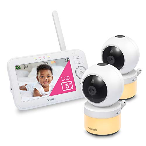 """VTech VM5463-2 Video Baby Monitor with 5"""" Screen, Pan Tilt Zoom, Sound Activated Night Light & Glow-On-The-Ceiling Projection, Night Vision, 2 Cameras, Multiple Viewing Options"""