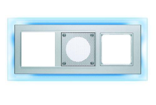 PEHA MP3 AudioPoint Nova-Design - Marco embellecedor con led (3 huecos, luz de color azul)