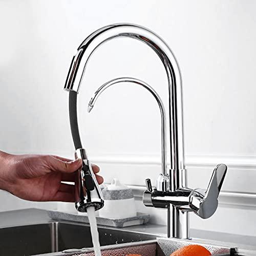 Grifo de agua G1 / 2 Grifo de agua para cocina Grifo de filtro de agua fría y caliente(Electroplating)