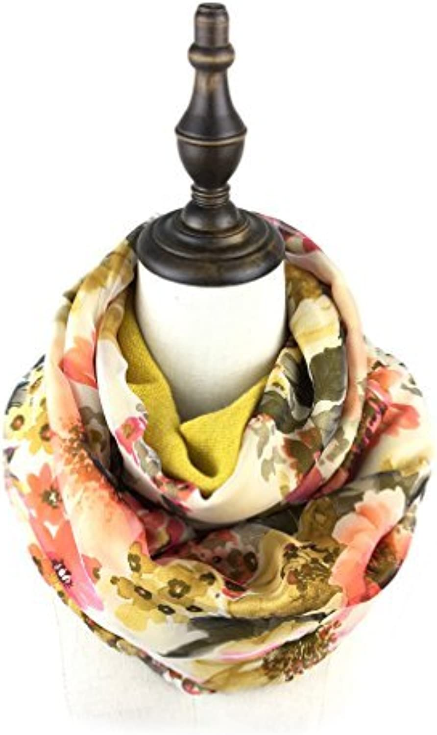 Bruceriver Women's Double Layer Reversible Circle loop Infinity Scarf