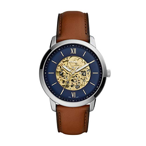 Fossil Herren Analog Automatik Uhr mit Leder Armband ME3160