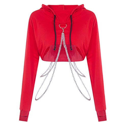 Skang Damen Punk Oberteil Mit Kette Kapuzenpullover Sexy Einfarbig Langarm Tops Hoodie Sweatshirt Pullover Crop Tops(S,Rot)