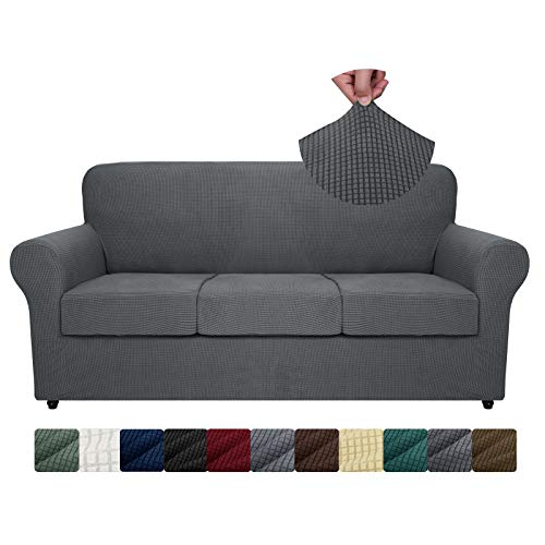 ZNSAYOTX 4-Piece Sofa Slipcovers High Stretch Spandex Slip Cover Living Room Couch Covers for 3 Cushion Couch Jacquard Small Checks Furniture Protector Machine Washable (Dark Grey, Sofa)