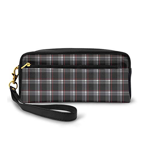 Download Golf GTI Plaid Hd Wallpaper Small Makeup Bags Purse PU Leather Travel Cosmetic Pouch Simple Pencil Pouches