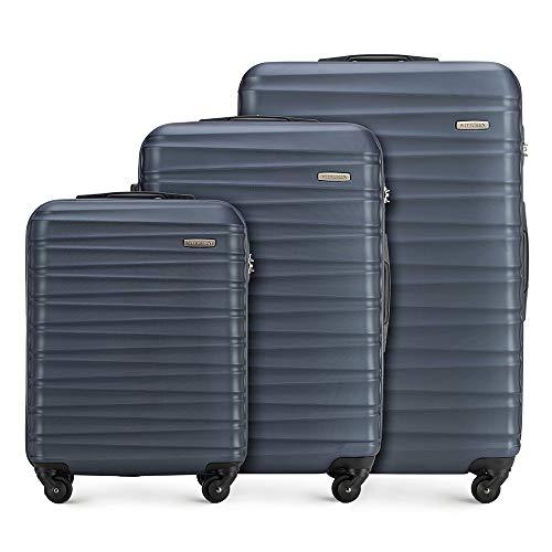 Stabiler Koffer-set 3tlg. Trolley Koffer Reisekoffer von Wittchen Marineblau ABS Hartschalen kofferset Trolley 4 rollen Kombinationsschloss