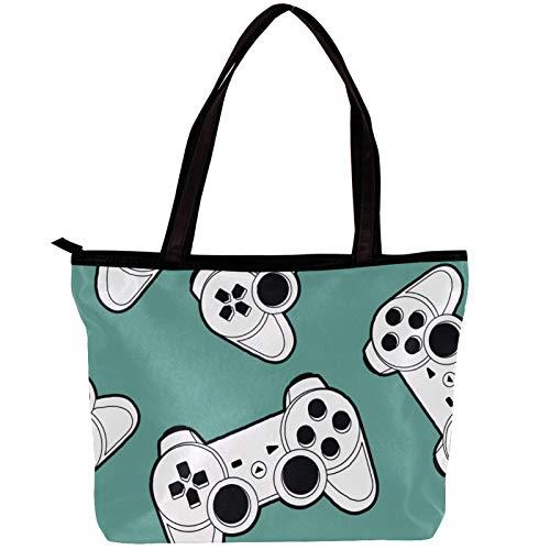 Handtaschen für Frauen Joystick Gamepad Best Handtasche Damen Shopper Groß Damen Tasche für Büro Schule Einkauf 30x10.5x39cm