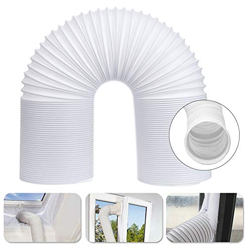 Porfeet Air Conditioner Hose, 5.1/5.9 inch PP Telescopic Counterclockwise Thread Air Conditioner Hose Exhaust Vent White 130mm x 2m