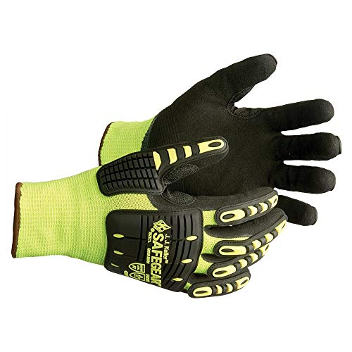 SAFEGEAR Nitrile Gloves X-Large, 1 Pair - EN388 & ANSI Level A7 Cut-Resistant Black Nitrile/Steel Fiber & Lime Green Elastic Work Gloves for Men and Women, Touchscreen Capable - J. J. Keller