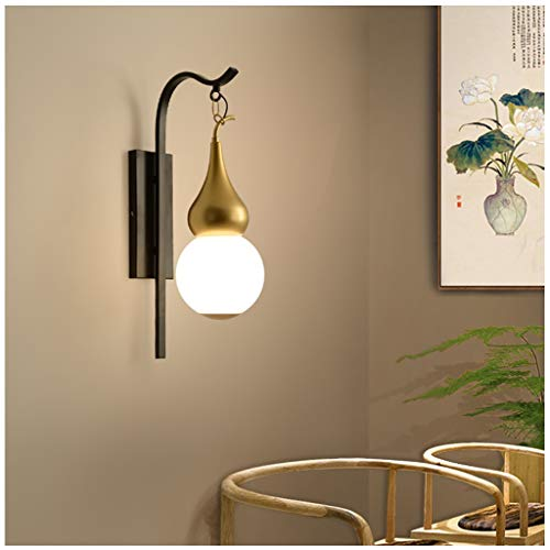 Unique Wall Sconce Gourd Light, Japanese/Chinese Wall Lamp Decorations, Black and Gold Finish Iron Frame and Frosted Globe Glass Shade Decor Hanging Lighting, E27