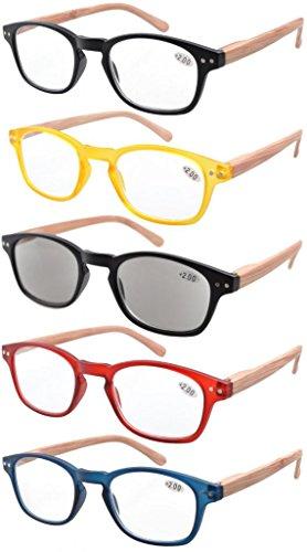 Eyekepper Bamboo Pattern Arms Reading Glasses-5 Pack Include Reading Sunglasses for Women Men Reading,+1.50 Reader Eyeglasses