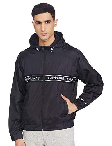 Calvin Klein Nylon Logo Tape Jacket Chaqueta, Black, M para Hombre