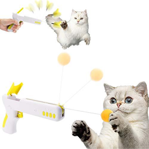 AVNICUD Interaktives Katzenspielzeug, Intelligenzspielzeug Katze Spielzeugpistole mit Ball & Feder Intelligenz, Haustier Cat Gun für IQ Training Kätzchen (Gelb)