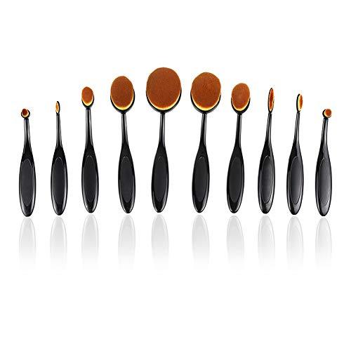 TOPofly Make-up-Pinsel, 10PCS Oval Zahnbürste Make-up-Pinsel-Set Contour Powder Blush Conceler...