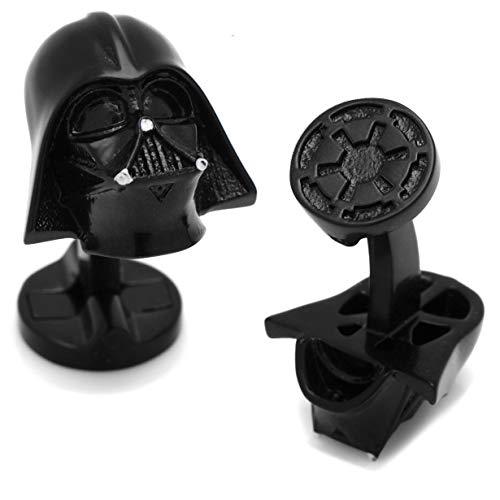 Star Wars Manschettenknöpfe Darth Vader 3D Matt Schwarz Imperial Logo in Geschenkbox