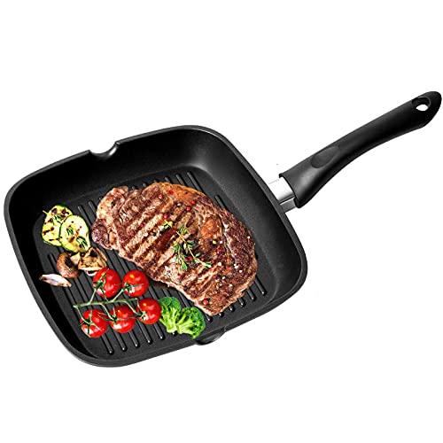 OZAVO Sartén Antiadherente para Freír Sarten Grill Asador Cuadrado con Rayas Aluminio Fundido, Apto para Todo Tipo de Cocinas Incluido Inducción, Libre de PFOA y BPA, 24 x 24 x 4,1cm