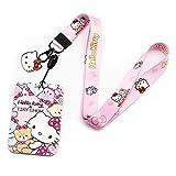 Hello Kitty Cartoon Print Lanyard Llavero ID Badge Holder Clip (KT-Kitty)