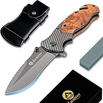 Couteau de poche pliant 3-en-1 couteaux de poche mini- couteau de survie randonnée[Aus Edelstahl] [440C] - couteau chasse multifonction mit aiguiseur couteaux & cac à couteaux