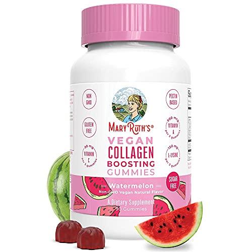 Vegan Collagen Boosting Gummies for Hair Skin & Nail Health by MaryRuths | Plant Based Supplement w/ Lysine Vitamin A, C, Alma Fruit Complex | Animal Peptide & Sugar Free | Watermelon (90 Count)
