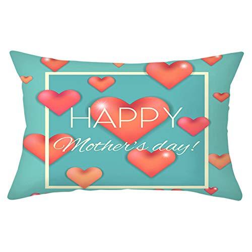 AMDXD Fundas de Cojin Poliéster, Funda Cojin Rectángulo Happy Mother's Day! con Corazones Decorativo para Sofá Cama Hogar Coche,Interior, Exterior , Rojo Turquesa, 30x50cm