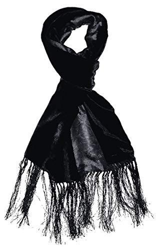 Lorenzo Cana - Damen Wendeschal Double Face - Vorderseite Samt aus Seide - Rückseide florales Muster in Damast Webart Fransenschal schwarz 30 cm x 200 cm