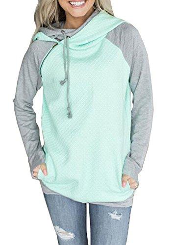 Woweal Damen Kontrastfarbe Pulli Pullover Rollkragen Sweatshirt Kapuzenpulli Top Hoodies, Grün, XL