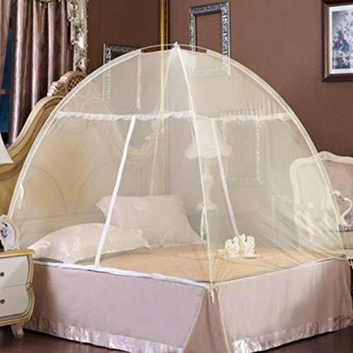 Ving Zomer Opklapbaar Insectenbed Yurt Klamboe King Queen Size Beddengoed Luifel Gordijn Koepeltent, Geel, 180x200cm