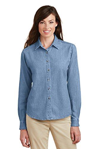 Port & Company Women's Long Sleeve Value Denim Shirt L Faded Blue