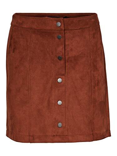 VERO MODA Damen VMDONNARAY Fake Suede Short Skirt COL Rock, Braun (Tortoise Shell Tortoise Shell), XL