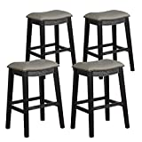 COSTWAY 29 Inch Bar Height Saddle Stool Set of 4, Backless Stool with Cushioned Seat, Sturdy Rubber Wood Structure with Humanized Footrest, Easy Assembly Ideal for Home Kitchen Pub (Black+Grey, 4)