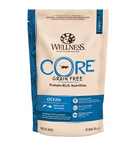 Wellness CORE Ocean Getreidefreies Katzenfutter Trocken, Hoher Fleischanteil, Lachs und Thunfisch, 300 g