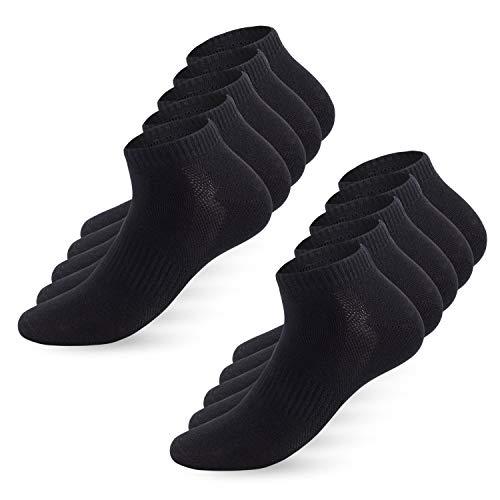 YouShow Sneaker Socken Herren Damen 10 Paar Sportsocken Kurze Halbsocken Baumwollsocken Unisex Atmungsaktiv_Schwarz_43-46