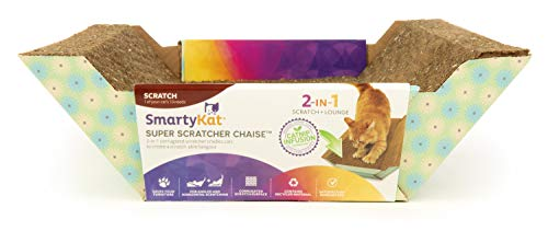 SmartyKat, Super Scratcher Chaise, Cat Chaise Lounge and Cradle, Corrugated Cardboard Scratcher, Catnip Infused
