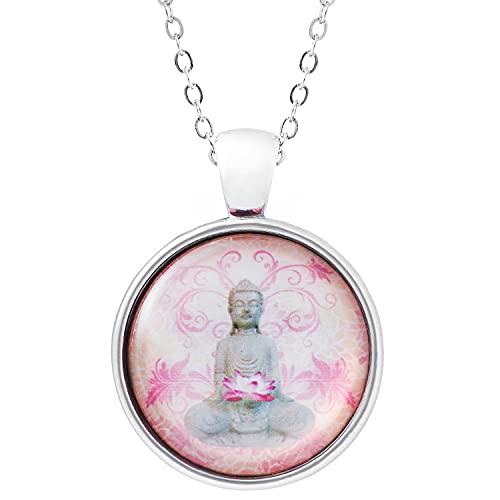 Klimisy - Collar Buda con colgante de cristal - Buy one & Plant one Tree - Collar de alta calidad con medallón de yoga
