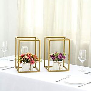 Silk Flower Arrangements Efavormart 2 Pack Matte Gold Wedding Flower Stand Metal Vase Column Stand Geometric Vase