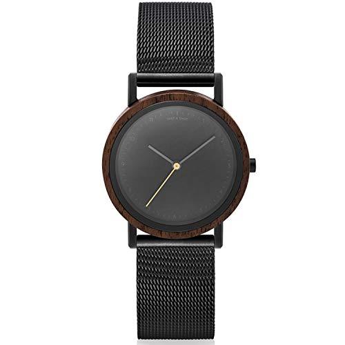 TAKE A SHOT – pequeño Reloj analógico de Madera para señoras, Pulsera de Metal, Ø 30mm, Liv «Mesh Negro»
