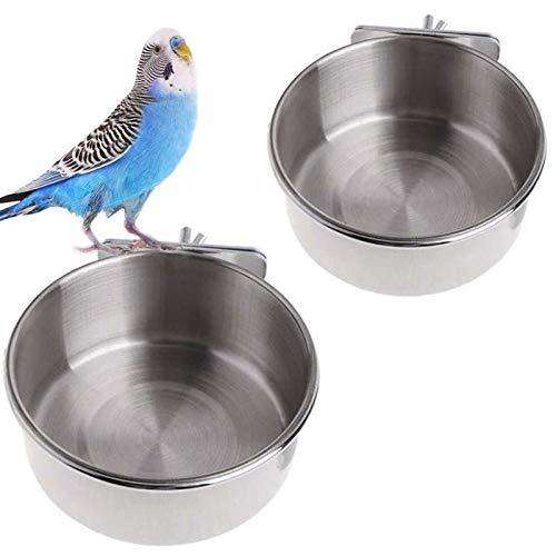 Ciotola per Pappagallo, 2PCS Ciotola per Uccelli Gabbia, Ciotola per Uccelli da Appendere, Mangiatoia per Uccelli in Acciaio Inossidabile, Ciotole per Mangiatoia per Uccelli, Pappagalli, Cockatiels