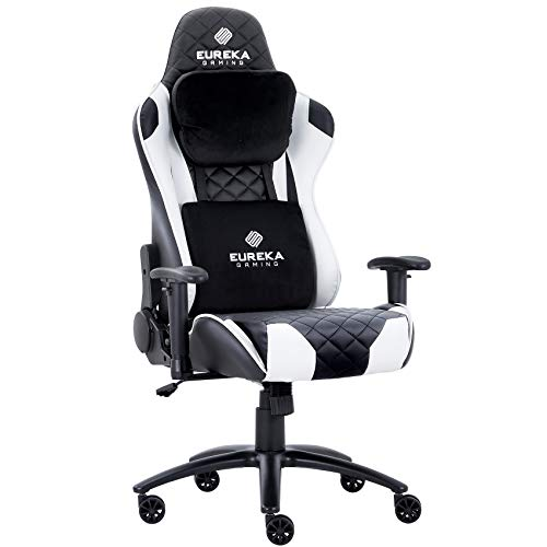 Eureka Gaming Chair Office Chair High Back Computer Chair Ergonomic Adjustable Swivel Desk Chair W Headrest and Lumbar Support PU Leather PC Gamer Chair for Gamer, Black & White