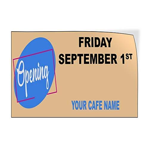 Jeartyca Pegatina de vinilo para puerta con nombre de CAF, color azul, para abrir negocios, 20 x 30 cm, decoración de metal, letreros de metal para exteriores, divertido cartel decorativo para pared