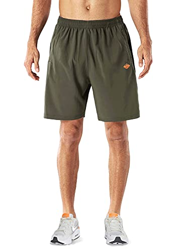 EXEKE Men's Quick Dry Shorts Gym Workout Shorts Lightweight Running Shorts with Zipper Pockets 252-L/Army Green 28-30