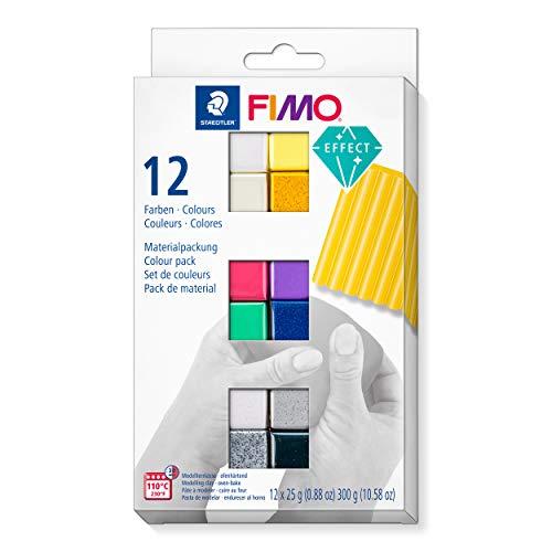 Staedtler C12-1ST FIMO Effect, ofenhärtende Modelliermasse, Set mit 12 Effekt-Farben, 8013 C12-1, Mehrfarbig