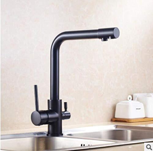 Oro/Negro grifo de la cocina de latón macizo grúa de cubierta para la cocina de agua montado filtro Tap Tres maneras de mezclador del fregadero de 3 vías grifo de la cocina, cepillado aceite negro