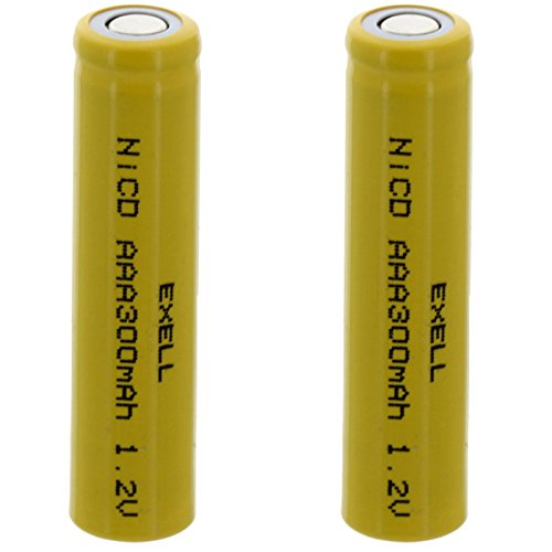 2x Exell AAA 1.2V 300mAh NiCD Flat Top Rechargeable Batteries for meters, radios, hybrid automobiles, high power static applications (Telecoms, UPS and Smart grid), radio controlled devices