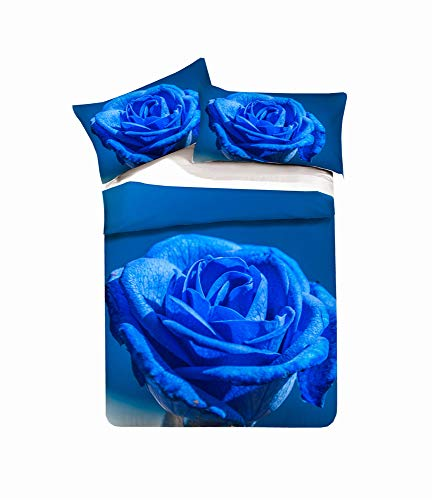 EU-VV Juego De Cama Funda Nórdica Microfibra Cepillada 3D Oceano Rosa Niños Niño Y Niña 1 Funda Nórdica + 2 Funda De Almohada 50x75cm ((180x220 cm)-Cama de 105/135,Azul Escarcha)