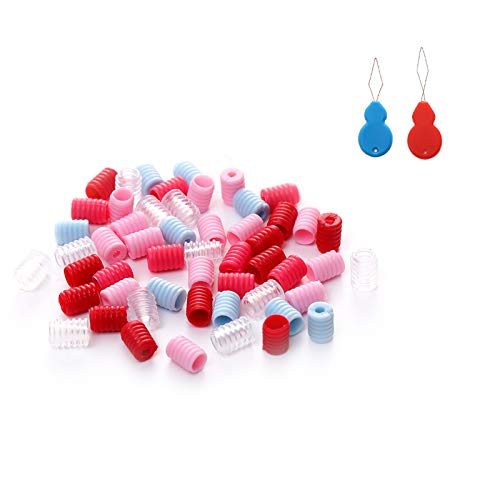 Cord Locks Elastic Cord Lock - Adjustable Cord Locks Silicone Toggles for Drawstrings, Adults Kids Mask Elastic Cord Adjuster No Slip Stopper with 2 Needle Threader including 100 PCS (Multiple colour)