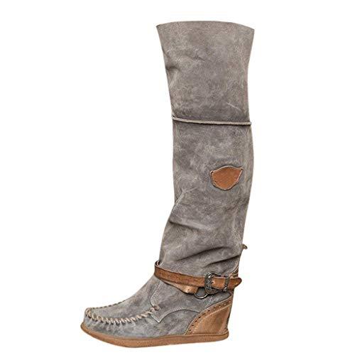 Hohe Stiefel Winter im Freien damen mode Retro Keile über dem Knie Lange Stiefel Lässige Schuhe