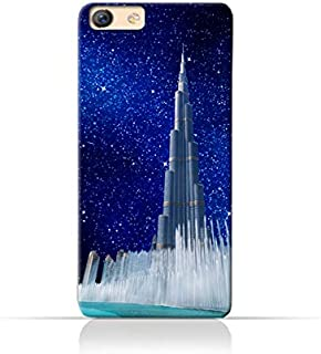Oppo F3 TPU Silicone Protective Case with Burj Khalifa and Water Fountain on a Starry Night Design